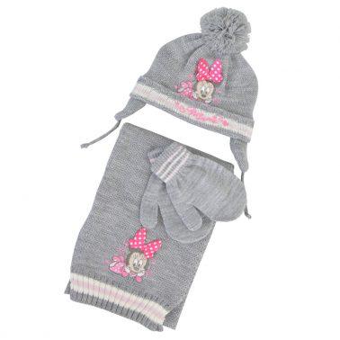 Комплект от 3 части - шапка, шал и ръкавици с Мини Маус в светло сиво
