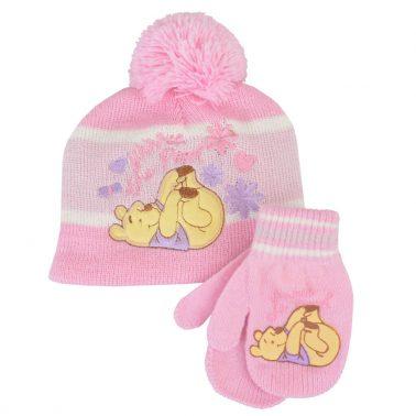 Зимна детска шапка в комплект с ръкавици с Мечо Пух в розово