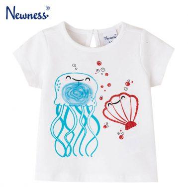 Бебешка блуза с къси ръкави и щампа с медза и мида бяла