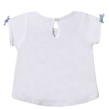 Бебешка блуза с къси ръкави с апликация с момичета на люлки бяла