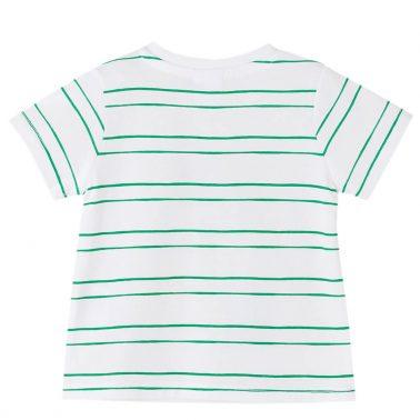 Бебешка блуза с къси ръкави в райе с щампа с кошери бяла