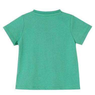 Бебешка блуза с къси рълкави и бляскав надпис зелена