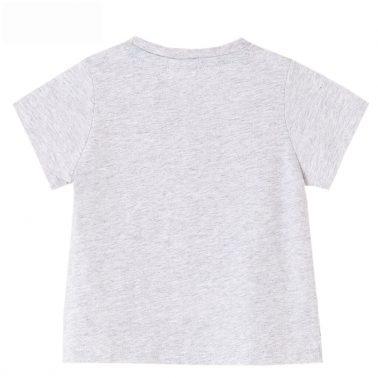 Бебешка блузка с къси ръкави и планинска щампа в светъл меланж
