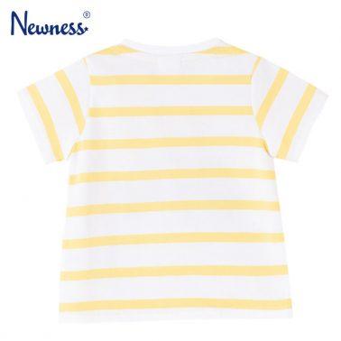 Бебешка блуза с къси ръкави в райе с щампа с кемпер жълта