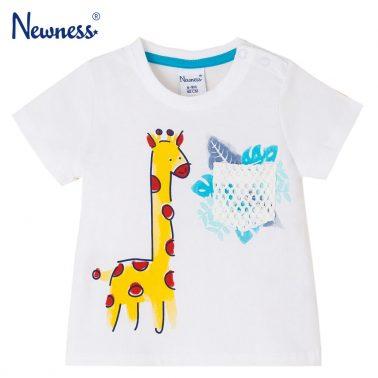 Бебешка блуза с къси ръкави и дожбче с щампа с жираф бяла