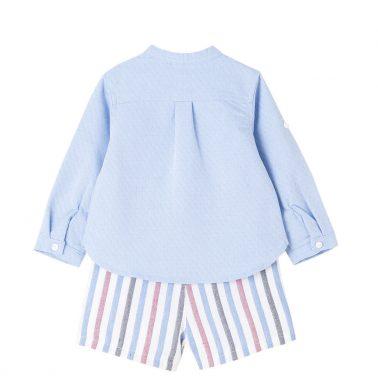 Бебешки официален комплект с риза и къси панталонки в райе светло син