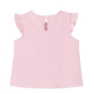Модерна бебешка блуза с къдрички на ръкавите и щампа с очила розова