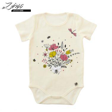 Бебешко боди с къси ръкави и щампа с цветя с брокат в бяло