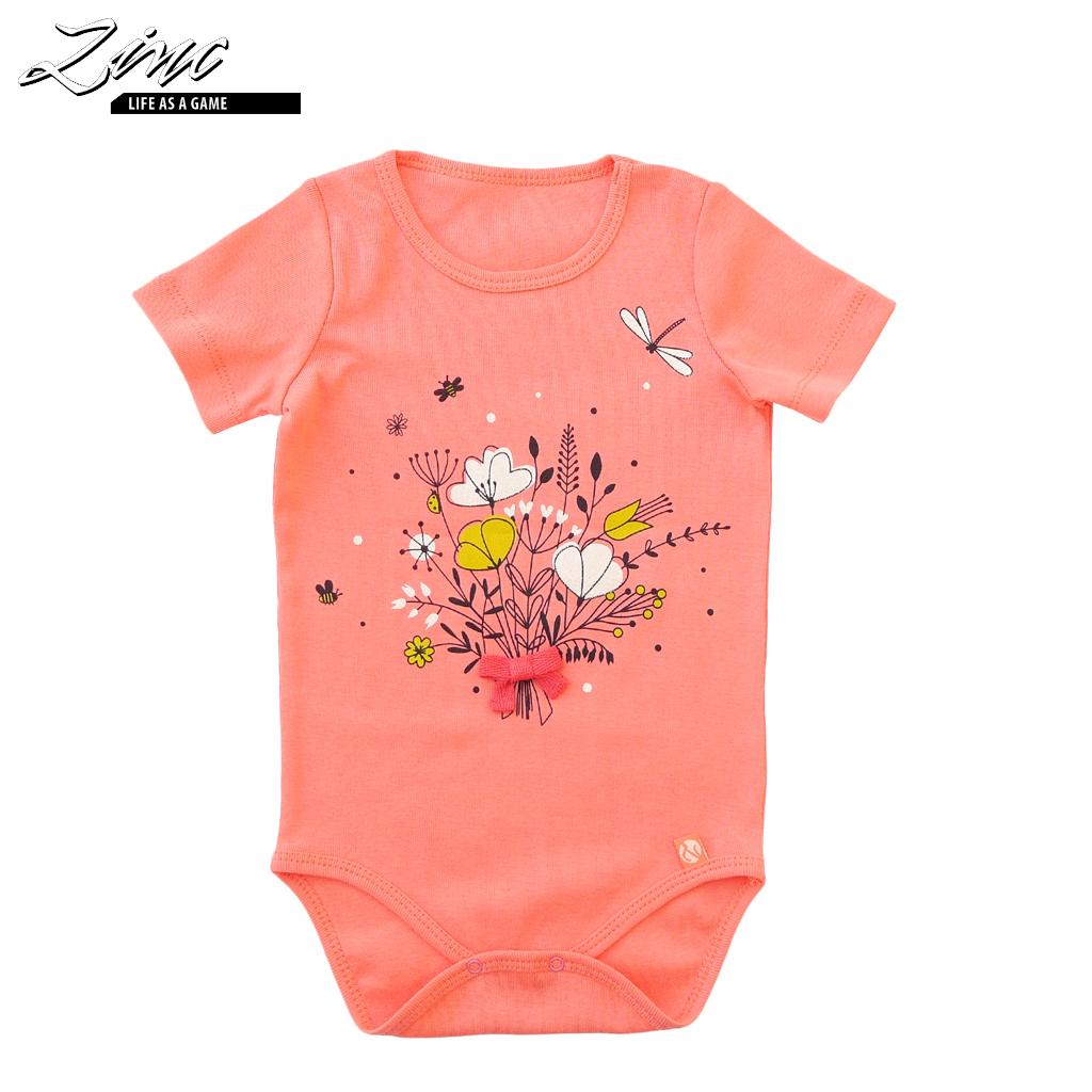 Бебешко боди с къси ръкави и щампа с цветя с брокат в цвят корал