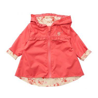 Бебешко шушляково пролетно яке с качулка и цип в цвят диня