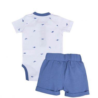 Бебешки комплект от  боди с динозаври и къси панталонки в бяло