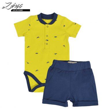 Бебешки комплект от  боди с динозаври и къси панталонки в жълто