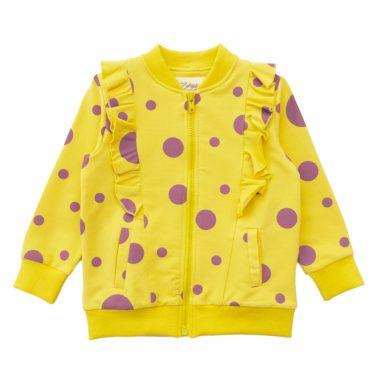 Детски анцуг в две части с къдри на точки жълт