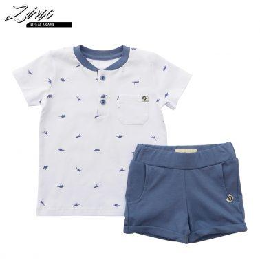 Детски комплект от блуза с динозаври и къси панталонки бял