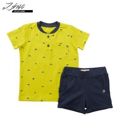 Детски комплект от блуза с динозаври и къси панталонки жълт