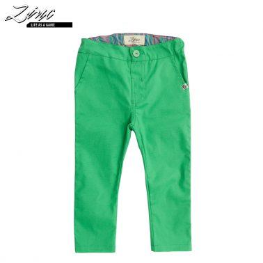 Детски изчистен прав текстилен панталон в зелено