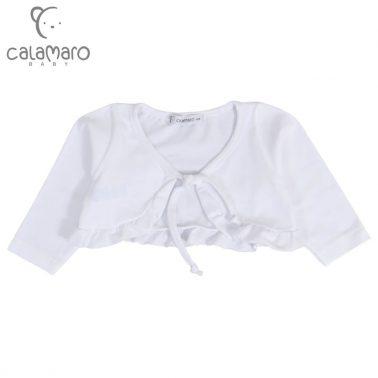 Бебешко трикотажно болеро с кърдички и връзка бяло