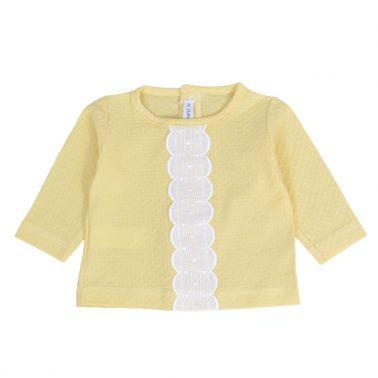 Луксозен бебешки комплект от фино трико с дантела в жълто