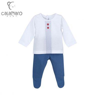 Луксозен бебешки комплект от блуза и ританки цвят деним