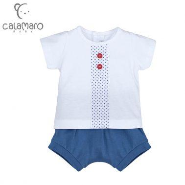 Луксозен бебешки комплект от блузка и къси панталони в цвят деним