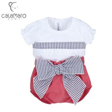 Луксозен бебешки комплект от блуза с дантела и гащички с панделка в червено