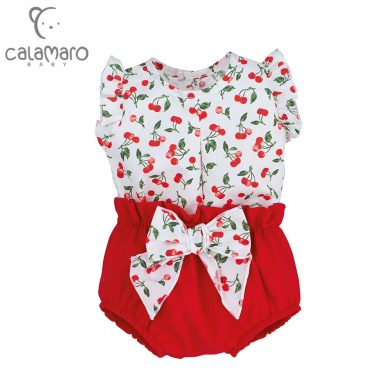 Луксозен комплект блуза с черешки и гащички с панделка в червено
