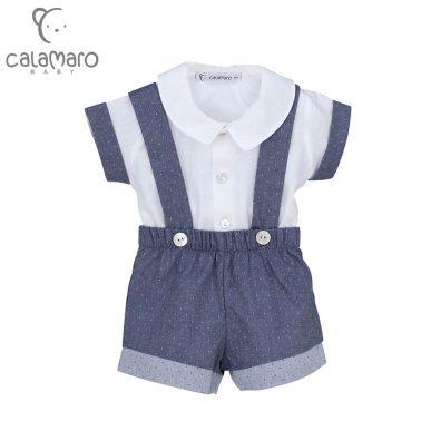 Луксозен бебешки комплект от риза и къси панталонки с тиранти в синьо