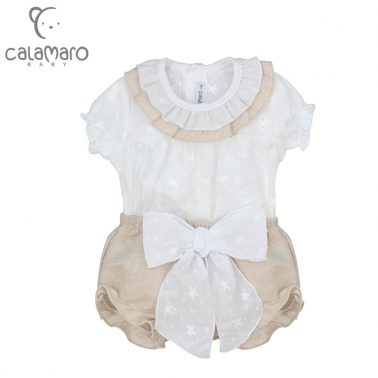 Луксозен бебешки комплект от лен с гащички и блуза в бежово