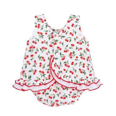 Луксозен бебешки комплект с туника и гащички на черешки в червено