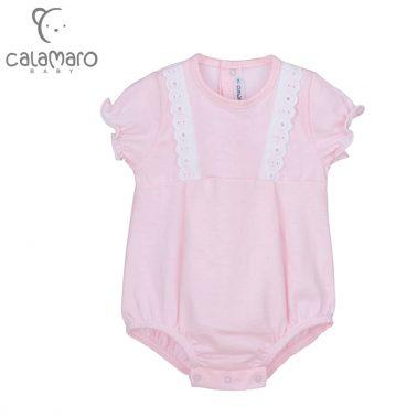 Бебешки луксозен гащеризон с къси ръкави и  дантели в розово