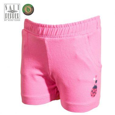 Бебешки трикотажни къси панталонки с калинка в розово