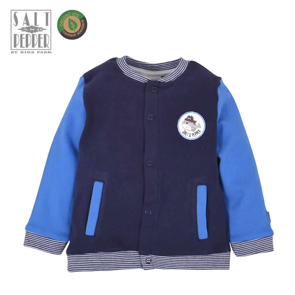 Бебешки суитшърт с джобове и тик-так копчета тъмно син