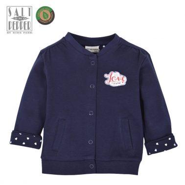 Бебешка трикотажна жилетка с джобчета от органичен памук в тъмно синьо
