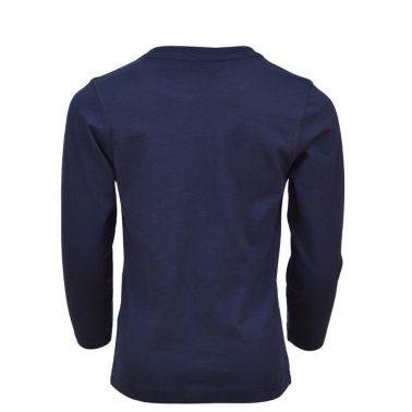 Детска блуза с дъги ръкави и щампа с пожарна тъмно синя