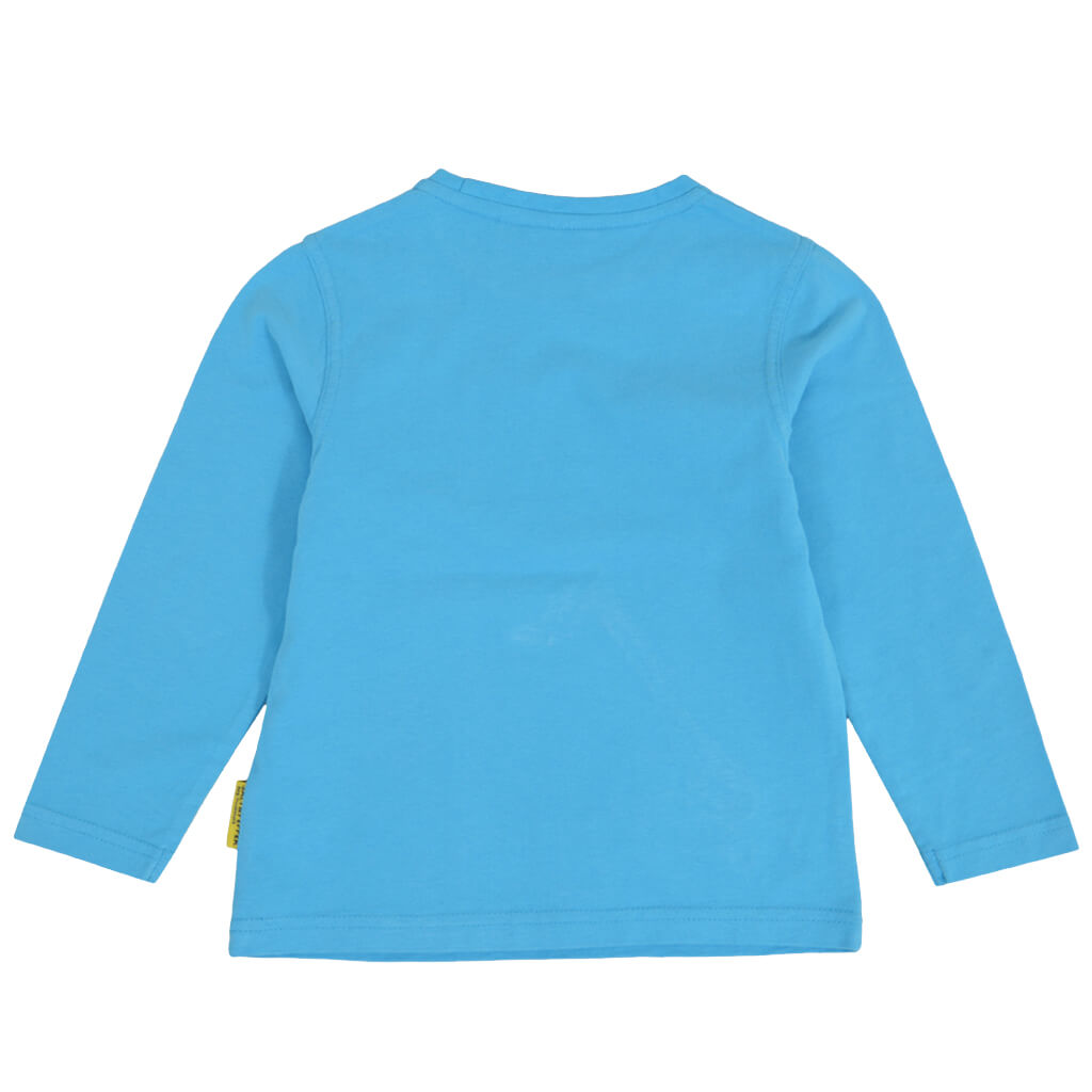 Детска блуза с дълги ръкави и апликация с багер светло синя