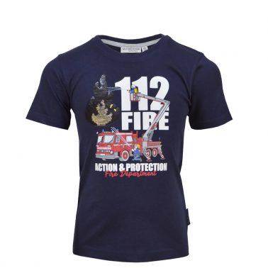 Детска блуза с къси ръкави с пожарна щампа в тъмно синьо