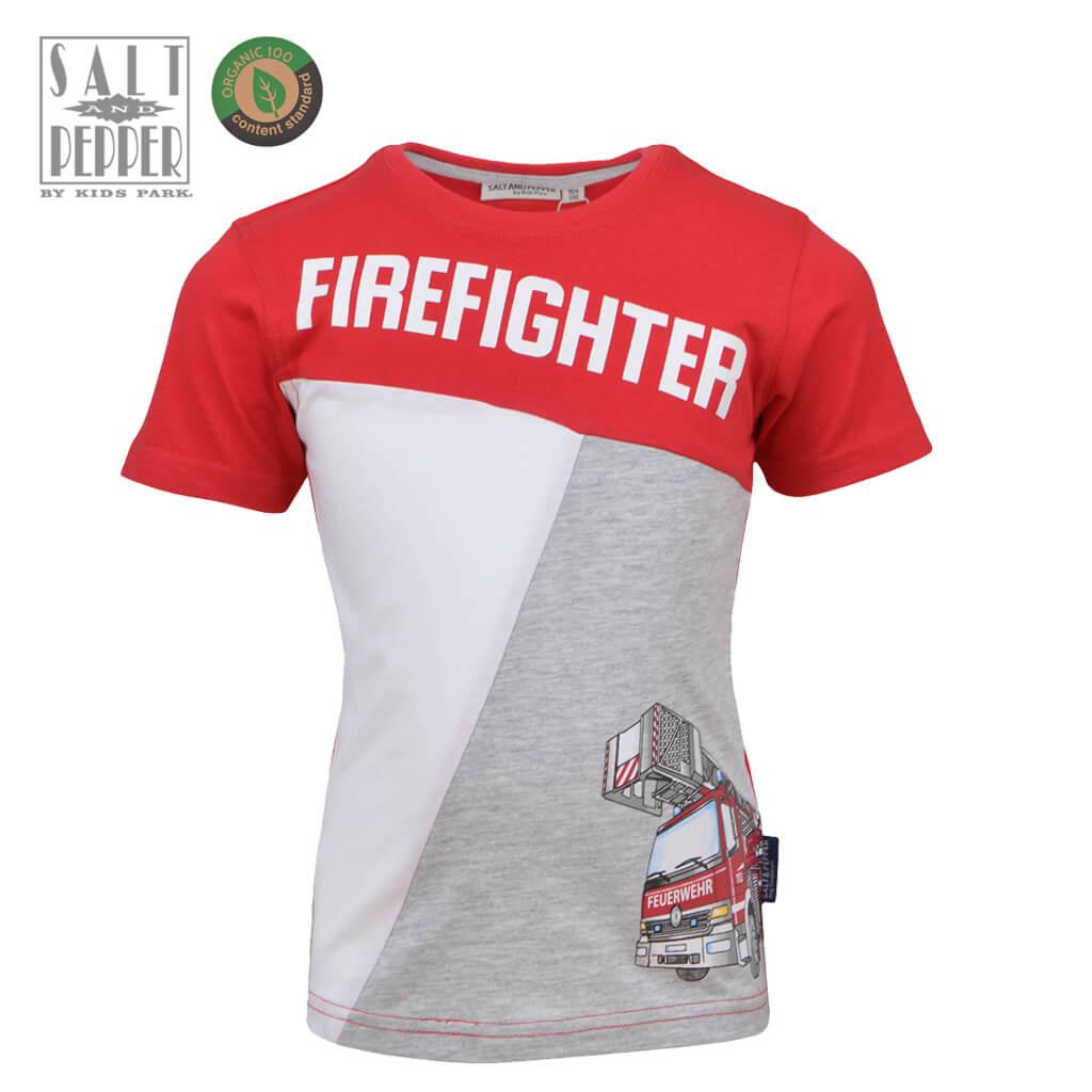 Детска блуза с къси ръкави и пожарна кола червена