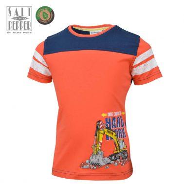 Детска блуза с къси ръкави от органичен памук с багер в оранжево
