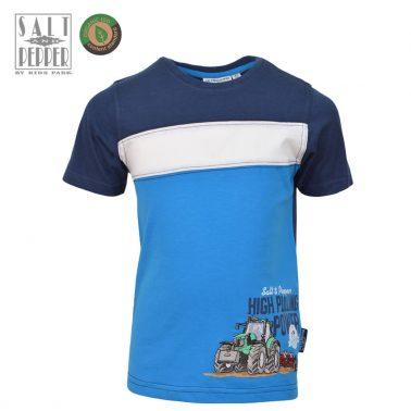 Детска памучна блуза с къси ръкави и апликация с трактор в синьо