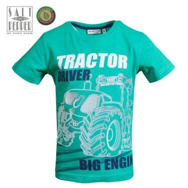 Детска блуза с къси ръкави и флуресцента щампа с трактор зелена