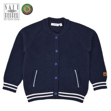 Плетена памучна жилетка с копчета и джобове тъмно синя