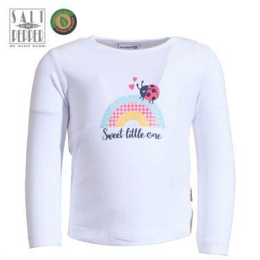 Бебешка блуза с дълги ръкави и щампа с калинка и дъга бяла