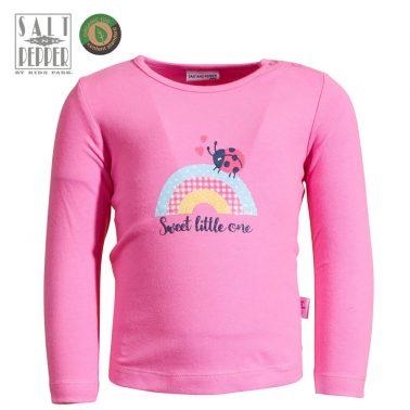 Бебешка блуза с дълги ръкави и щампа с калинка и дъга розова