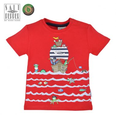 Бебешка блуза с къси ръкави с цветна щампа с пиратски кораб червена
