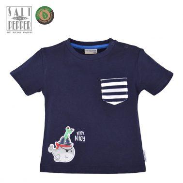 Бебешка блуза с къси ръкави и джобче от органичен памук тъмно синя
