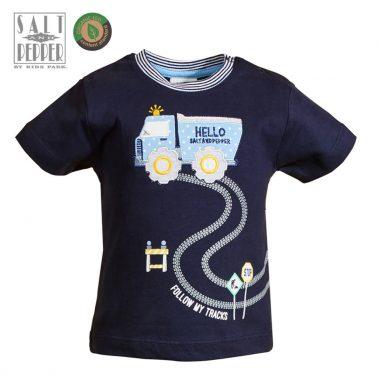Бебешка блуза с къси ръкави от органичен памук с апликаця камион в тъмно синьо