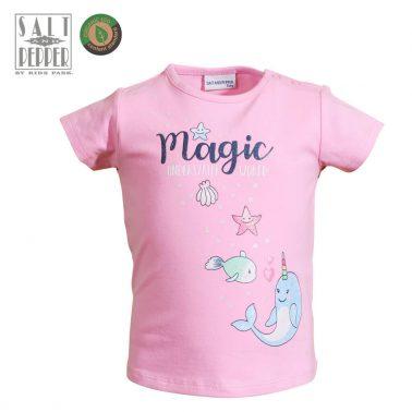 Бебешка блуза с къси ръкави и морска щампа в розово