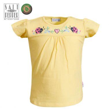 Бебешка блузка с къси ръкави и аплиакция с калинки жълта