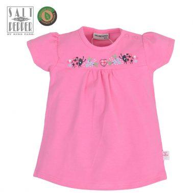 Бебешка блузка с къси ръкави и аплиакция с калинки розова