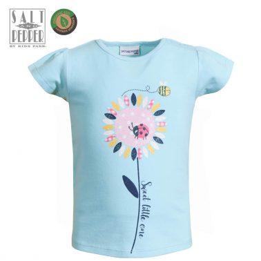 Детска блуза с къси ръкави и щампа с цвете и калинка в светло синьо